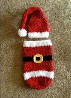 Crochet Santa cocoon sack for infants