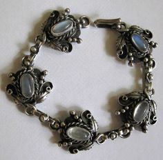 Vintage Sterling and Moonstone Bracelet