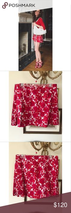 """NWT DvF Red and White Floral Skirt Sz 4 Never worn, new with tags Diane von Furstenberg mini skirt, Sz 4. Perfect condition, no flaws whatsoever. 15 1/2"""" length, 16"""" waist laying flat. Open to offers. Diane von Furstenberg Skirts Mini"""