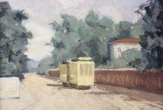 Oljemålning, Acke Kumlin, Spårvagn, signerad, 25x32
