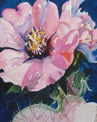 LINDY COOK SEVERNS, BIG BEND ARTIST TRAINING Cactus Blossoms in watercolor by Bettye Cook