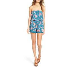 Mimi Chica Strapless Pom Pom Romper ($15) ❤ liked on Polyvore featuring jumpsuits, rompers, turquoise, strapless rompers, white rompers, pom pom romper, sleeveless romper and cut out romper