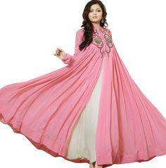 Designer Pink & Cream Georgette Semi Stitched Long Salwar Kameez with Duppatta-70004 - Salwar Kameez