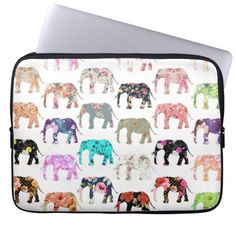 Girly Whimsical Retro Floral Elephants Pattern Computer Sleeve