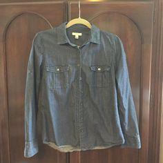 J Crew denim shirt. Dark wash (darker than 1st picture suggests) denim shirt J. Crew Jeans
