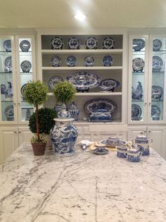 Blue and white display in kitchen