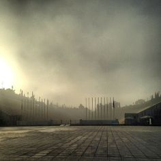 A crazy spring morning in Pagrati--fog with the marble stadium! http://instagram.com/cyathens