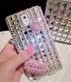 Bling Kiss Crystal Diamond Case Cover For Iphone 7 6 6S Plus 5S SE 5C 4S Samsung Galaxy Note 7 5 4 3 2 S7 S6 Edge Plus S5 S4 S3