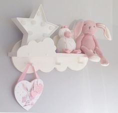 Nursery cloud shelf painted white with 3 pegs 50cms by MEMEKIKI
