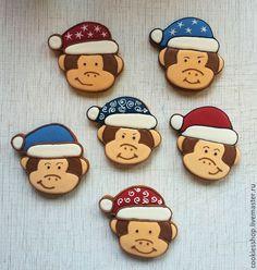 Кулинарные сувениры ручной работы. Ярмарка Мастеров - ручная работа. Купить Новогодняя обезьянка. Handmade. Разноцветный, пряник имбирный, обезьянка