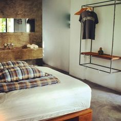 Drift Hotel, San Jose del Cabo (love the open closet) Hotel Bedroom Design, Hotel Concept, Small Spaces, Interior Design, San Jose, Closets, Metal Worx, Student House, Hanging Clothes