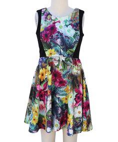 Pink & Yellow Floral Sleeveless A-Line Dress - Girls #zulily #zulilyfinds