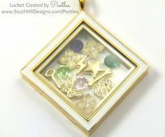 South Hill Designs UK - A Diamond Locket in Golds and Greens close up