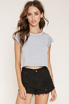 Cuffed-Sleeve Burnout Tee | Forever 21 - 2000160265