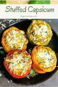 Stuffed Capsicum (Bell Pepper) or Bharwa Shimla Mirch is a flavorful and tasty exotic side dish. For preparing this dish, hollowed Capsicum shells are stuffed with a spicy mixture of potatoes, paneer (Indian cottage cheese) and other vegetables. Pork Chop Recipes, Veg Recipes, Potato Recipes, Indian Food Recipes, Vegetarian Recipes, Cooking Recipes, Healthy Recipes, Ethnic Recipes, Chilli Recipes