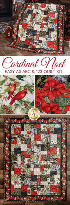 This gorgeous Christmas quilt created using the Cardinal Noel fabric collection features beautifully illustrated poinsettias, holly motifs, classic scrolls, and Cardinals of course!   The result is a sophisticated quilt that's simple to make by all skill levels, and you'll be proud to display your work this Christmas season!