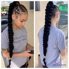Hair Ponytail Styles, Sporty Hairstyles, Braided Ponytail Hairstyles, Braided Hairstyles For Black Women, Braids For Black Hair, Box Braids Hairstyles, Straight Hairstyles, Girl Hairstyles, Curly Hair Styles
