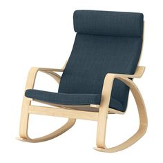 POÄNG Rocking chair, birch veneer, Hillared dark blue Hillared dark blue birch veneer