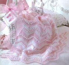 Pretty In Pink Lovely Detailed Baby Cot Pram Blanket Crochet Pattern | eBay