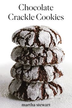 A variegated pattern of deep dark chocolate and pure white powdered sugar makes these crinkly cookies a striking study in contrast. Roll balls of the rich dough first in granulated sugar, then in confectioners' sugar. Chocolate Crackle Cookies, Chocolate Crinkles, Chocolate Crinkle Cookie Recipe, Chocolate Food, Powdered Sugar, Confectioners Sugar, Granulated Sugar, Cookie Recipes, Dessert Recipes