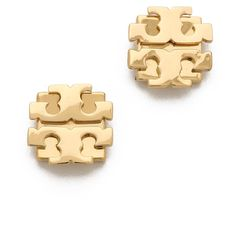 Tory Burch Large T Logo Stud Earrings ($58) ❤ liked on Polyvore featuring jewelry, earrings, accessories, tory burch, gold, logo earrings, stud earrings, earrings jewelry and tory burch earrings