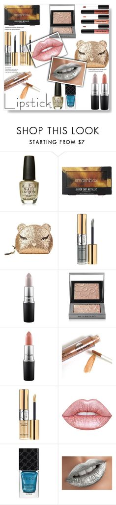 """Metallic lipstick & make up ideas #1"" by pengy-vanou ❤ liked on Polyvore featuring beauty, OPI, Smashbox, Furla, Yves Saint Laurent, MAC Cosmetics, Burberry, Lime Crime, Gucci and polyvoreeditorial"