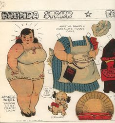 Abretha Breez - Brenda Starr's country cousin paper doll drawn by Dale Messick.- 9-7-41  - 1940s  newspaper comic strip