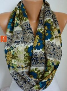 Needle Lace Print Infinity Scarf Shawl Circle Scarf by fatwoman,