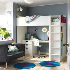Put your home in back-to-school mode! The IKEA STUVA loft bed with desk and storage is the perfect kids' bedroom set-up: a desk for homework, plenty of storage and a cool loft bed! (Cool Beds With Desks) Ikea Baby Room, Ikea Bedroom, Home Decor Bedroom, Bedroom Ideas, Kids Bedroom Storage, Nursery Ideas, Girls Bedroom, Master Bedroom, Stuva Loft Bed