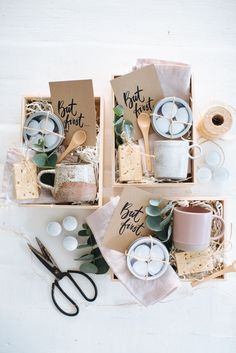 Coffee Gift Boxes with Free printable cards! #giftbaskets