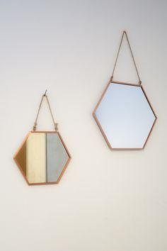 Small hexagonal copper mirror by LittleExtrasss on Etsy https://www.etsy.com/listing/274320716/small-hexagonal-copper-mirror