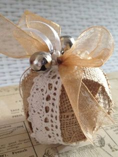 French Victorian Shabby Chic Christmas Ball Bauble hessian burlap tree decoration on Etsy, $7.71