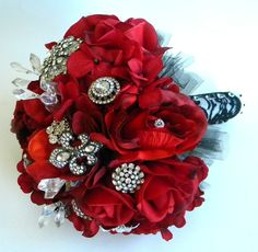 Blue Lily Bridal: Glamorous Red Rose Rhinestone Brooch Bridal Bouquet