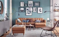 LANDSKRONA sofa, with chaise longue, Grann/Bomstad golden-brown/metal - Grann/Bomstad golden-brown - metal - IKEA Ikea Living Room, Living Room Photos, Living Room Interior, Living Room Furniture, Living Rooms, Living Area, Landskrona Sofa, Colourful Living Room, Living Room Inspiration