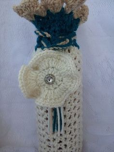 Cream Teal and Tan Colored Wine Gift Bag by Heartsdezines on Etsy, $8.00