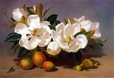 File:'Still Life of Magnolias and Mangos', oil on canvas painting ...