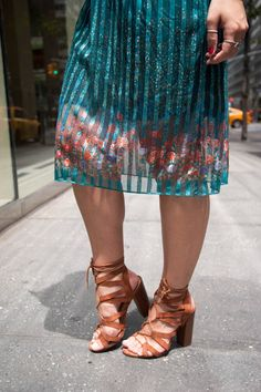 {The Vintage Floral Dress | Simply Audree Kate} Brown lace up heels with a striped skirt