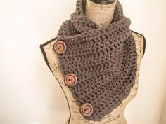 SALE Ready to Ship Infinity Crochet Scarf Charcoal by ScarvesbyDR
