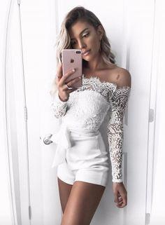 Fashion Slash Neck Long Sleeve Lace Romper OASAP.com