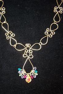 Swarovski Crystal & Gold Wire Worked Necklace