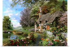 Country Cottage 1500 Piece Puzzle: Since 1891 we've been making the finest puzzles and it's our attention to detail which makes Ravensburger the world's greatest puzzle brand! Experience the quality, experience the Country Cottage! Wall Art Prints, Poster Prints, Rose Cottage, Images Gif, Bing Images, Countryside, Home Art, Beautiful Places, Simply Beautiful