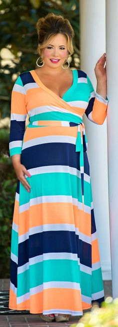 I like this dress, color combo and stripes, but it might be a little low cut