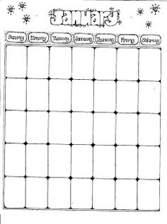 Connie's File Cabinet: MONTHLY BLANK CALENDAR PAGES FOR A YEAR Blank Calendar Pages, Monthly Calendar Template, Weekly Calendar, 2021 Calendar, Monthly Planner, Happy Planner, Bullet Journal Ideas Pages, Journal Prompts, Bullet Journals