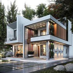 house plans The Best Duplex House Elevation Design Ideas you Must Know Uses of Solar Power Solar pow Modern Villa Design, Modern Exterior House Designs, Dream House Exterior, Cool House Designs, Contemporary Design, Best Modern House Design, Design Exterior, Modern House Facades, Modern Architecture House