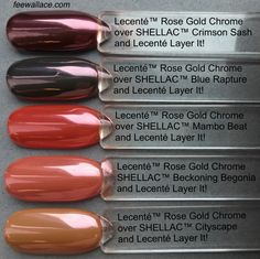 comparison shot of lecente rose gold chrome over different shellac colours by fee wallace