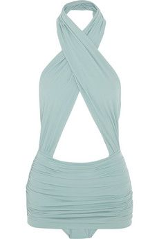 Norma Kamali Mio ruched crossover swimsuit | NET-A-PORTER