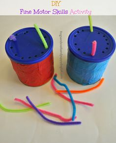 I want to adapt this into a worm activity or put a face on the top so that you're adding the hair :: DIY Fine Motor  visual motor Skills Activity, OT, special education, early childhood, school