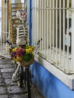paper mache skeleton. head and torso are ballons and cardboard.
