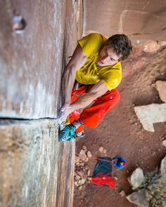 """Ben Rueck (@benrueck): """"One question remained-rise to the challenge of a route that involves 40 footers onto .2x4 cams in shitty sandstone? These were the questions that I had to face to get the first ascent of 'Pure Pressure' (5.14-)."""" Check out the next issue of @rockandicemag for the full story and beautiful photography from Dan Holz (@dan.holz) #lasportivana #lasportiva #climbing"""
