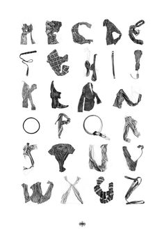 Clothing and accessories, painstakingly hand-drawn in pencil form a unique alphabet. By Stuart Whitton.